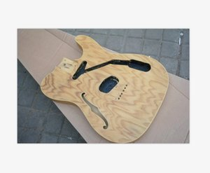 New Unfinished Guitar Mahogany Quilted Maple Top Body Semi- Hollow Body Unassembled Electric Guitar kits