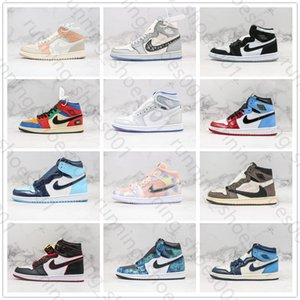 2020 Nike air jordan 1 AJ1 B23 Scotts Oblique High Top Frauen beiläufige Schuhe Travis 1 Trainer 1s OG Mid Mailand TWIST Männer Luxus NakeskinJordan 5 Sneakers 27