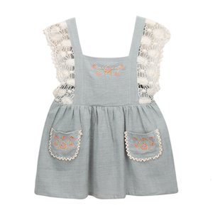Excelent Clearance New summer babys Dress Toddler Kids Baby Girls Clothes Lace Floral Party Pageant Princess Overall Dress Z0207