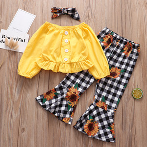 Conjuntos de ropa para niños Trajes de niñas Niños de tops de hombro + Plaid Sunflower Pantalones de investimiento + Diadema de arco 3pcs / Sets Spring Otoño Ropa de bebé
