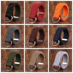 Canvas Belts Casual Women Men Waist Belts Double Loop Ring Belts Solid Color Trendy Belt Fashion Long Belt Waistband 18 Color YFA2396
