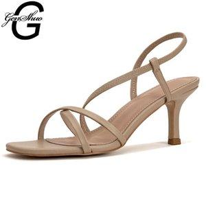 GENSHUO Absatz-Sandalen Weiblich Ins Hot Summer Französisch Stretch Vocation beiläufige dünnen Stöckel Gladiator Schuhe für Frauen Urlaub