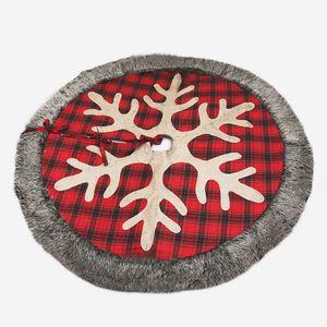 Albero di Natale Gonna 48 pollici grande della tela Plaid con fiocco di neve e pelliccia sintetica Xmas Tree Holiday Tatuaggi JK2008XB