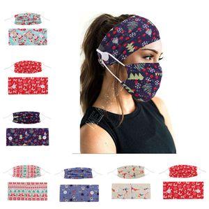 Düğme hairbands Tasarımcılar Maskeleri Kapak Kadınlar Elastik Saç Aksesuarları DHL D9207 ile Noel Baskılı Moda Yüz Maskesi Tutucu Bantlar
