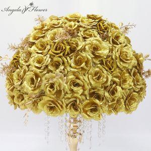 Gold Silver Artificial Flower Row Arrangement +Flower Ball Table Centerpieces Decor For Wedding Backdrop Festival Party Supplies