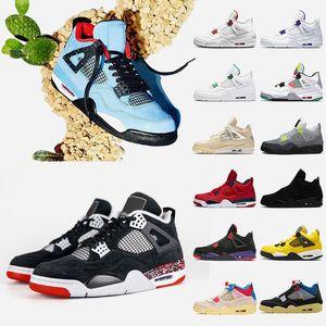 أحذية air retro jordan sail 4 travis scott 4 4s القط الأسود رجل كرة السلة المحكمة الأرجواني الأحمر المعدني ولدت رابتورز المرأة أحذية رياضية المدربين الأحذية الرياضي