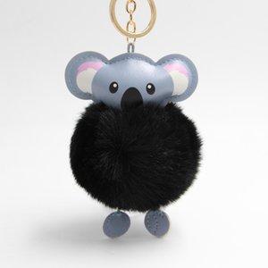 Sevimli Koala Ponpon Baykuş Anahtarlık Pom Anahtarlık Tavşan Kürk Topu Pompon Kabarık Deri Anahtarlık Aksesuarları