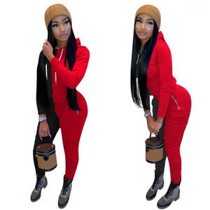 Felpe con cappuccio Panelled Donne Designer Tute allentati dei pantaloni 2pcs Womens insieme a due pezzi Set di abbigliamento Autunno Inverno lungo