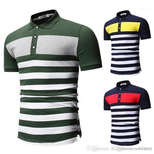 Boy Casual Tops Striped Print Contrast Color Summer Mens Polos Lapel Neck Short Sleeve Mens Tees Fashion Skinny