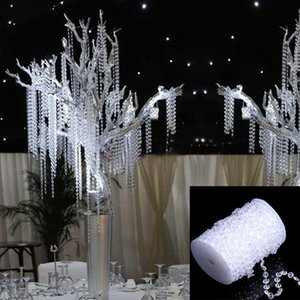 Eco-Friendly 30m Wedding Decoration Octagonal Acrylic Crystal Beads Curtain Iridescent Garland Strand Shimmer Curtains Party