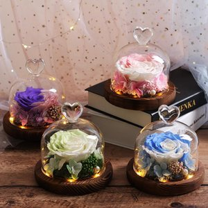 Multicolor Glass Dome Eternal LED Rose Flowers Romantic Valentine's Day Christmas present for wedding