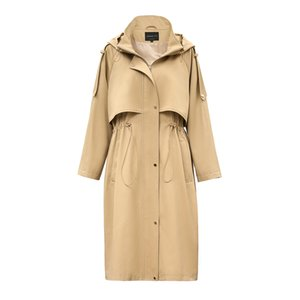 JAZZEVAR 2019 Autumn New Casual Women's Cotton X-Long Hooded Trench Coat Loose Clothing Oversized outerwear Good Quality T200831