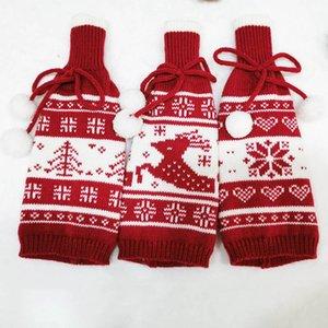 Copa de garrafa de vinho de malha Creative Tree Elk Snowflake de malha Natal Garrafa de vinho tampa decoração decorações de Natal HWC2381