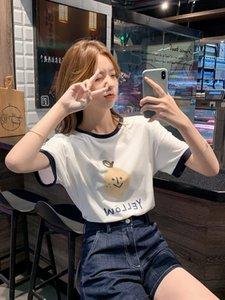 6Ba2v amplia jeXI9 camiseta impresa cartooncoat 2 todo-fósforo de la reducción de la edad-White pantalones Coat pierna pierna ancha delgada de manga corta + oscuro de alto perfil wid