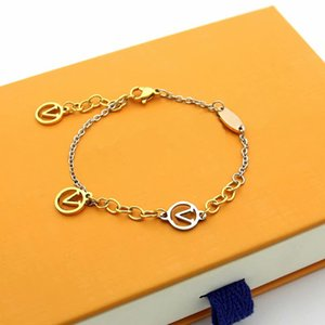Europe America Fashion Style Lady Women Titanium steel 3 Color Chain Bracelet With Hollow Out V Initials Charm