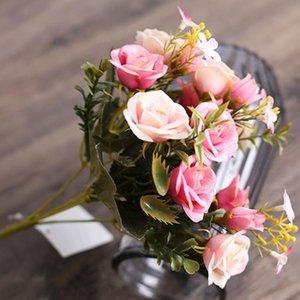 5 Forks Artificiale Rose Bouquet di fiori reale di tocco falso fiori fai da te Wedding Arrangement Office Home decorazione del giardino simulato