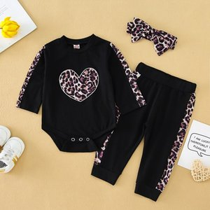 Children Leopard Two-piece Suits Babys New Autumn Clothes 2020 Hot Sell Kids Rompers + Pants Boys and Girls Fashion Pullover Suits with Bows