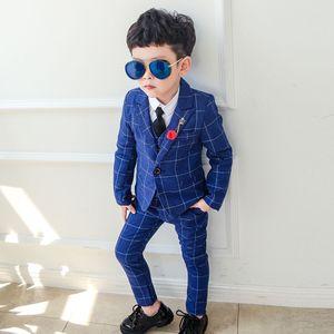 2020 Boys Formal Wear 3 PCS Kids Suits for Wedding Blazer Vest Pants Children's Costume Dress Baby Birthday Tuxedo Sets Clothes T200819