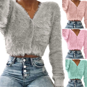 Couleur Solid Femme Designer Tincice Hairy Manches Longues Dames Cardigan Tops Vêtements Automne Casual V Cou Tees Tees