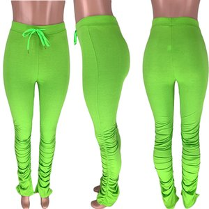 XS alla 2XL modo delle donne casuali metà di vita con coulisse Pocket Solid Pieghe strappato sopra dimensioni svasato pantaloni Stacked Leggings