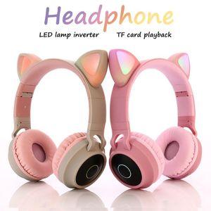 Pink Cat Ear Headband inalámbrico Auriculares LED Cancelación de ruido Auricular Auricular Auricular Tarjeta TF Tarjeta 3,5 mm Enchufe con micrófono HD