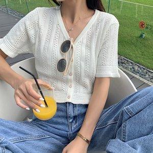 Sbjxd jaqueta de 2020 novo verão coreana jaqueta temperamento V-neck shirt estilo qpiRE projeto short manga curta oca-out camisa de malha para mulheres