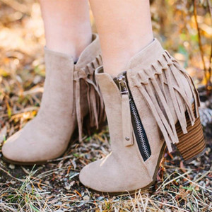 New Autumn Women Shorts Boots Pointed Toe Low Heel Side Zipper Fringe Retro Fashion Tassel Ankle Booties Party Shoes Dress