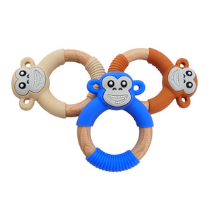 Toptan Beech Wood Silikon Maymun diş kaşıyıcınız Kukla Orangutan Teething Halkalar Bebek Çiğneme emziği DIY Bebek Yatıştırıcı Yenidoğan Hediyeler Duş