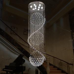 Tavan Işık Modern Kristal Avize Yükseklik 79 inç Dia 24 inç GU10 Ampüller LED Spiral Salon Aydınlatma Armatür Merdiven Merdiven Lambası
