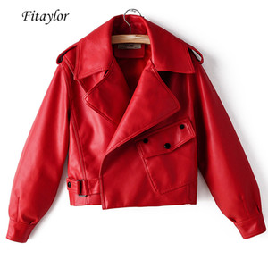 Fitaylor New Outono Mulheres Faux Leather Jacket Pu Motociclista Red Coat Turndown Collar soltas Streetwear Preto Casacos Punk