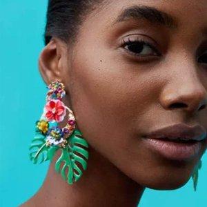 Sequined Flower drop Earrings for women 2018 Luxury boho personality Leaf beads Dangle earrings Vintage geometric Jewelry wholesale 7color