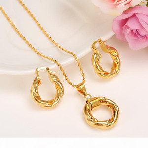 K 2017 New Big Hoop Earrings Pendant Women &#039 ;S Wedding Jewelry Sets Real 24k Yellow Solid Gold Gf Africa Daily Wear Gift Wholesale