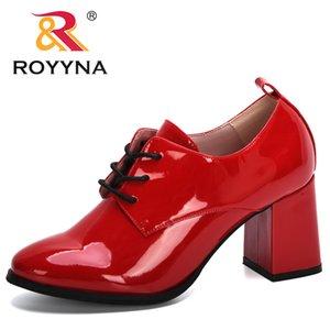 ROYYNA 2020 Yeni Geliş Klasik Düğün Ayakkabı Kadın Patent Deri Bayanlar Yüksek topuk Tasarımcı Marka Chunky Heels ayakkabı pompaları