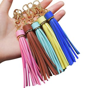PU Leather Tassels Keychain Key Ring Chrirstmas Car Bag Pendant Key Chain Xmas Keyring Present Fashion Accessories Gifts for Women Men