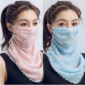 Blue Pink Scarf Mulheres Máscara Facial Multifuncional 13 estilos Máscaras pára-sol chiffon de seda Lenço exterior Windproof Meia Face à prova de poeira