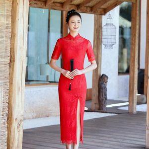 Red Plus Size 3XL Short Sleeve Classic Women Lace Cheongsam Elegant Long Sexy Qipao Summer Embroidery Dress Mandarin Collar