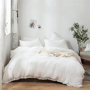 3pcs / set Branco franjadas borla edredon cobrir Set poliéster Consolador Bedding Set US UE Tamanhos NO SHEET