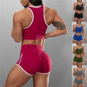 Taille haute Shorts Ensembles Costumes Femmes Fitness 5 Couleur Sport Deux Piece Shorts Tanks Crop Solid Color