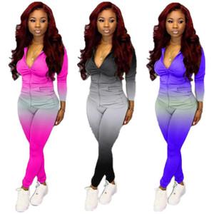 Echoine Gradiente Imprimir Treino Two Piece Set Mulheres com capuz Zipper Up Tops Jogger Calças Lápis Terno do desgaste de aptidão ativo Outfits