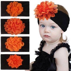 Dia das Bruxas do bebê Headbands 8 cores de cabelo Flor Chiffon Bandas infantil grandes laços listrados Dots Crianças Headwear bebê Nylon Hairbands 060818