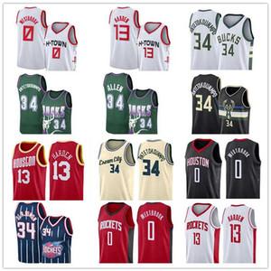 Bucks Antetokounmpo Jersey Allen 34 Giannis Ray Milwaukee Harden Rockets 0 Westbrook Houston 13 James Russell Hakeem Olajuwon 34 Basketball