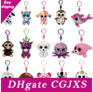 Ty Beanie Boos Big Eyes Plüsch-Schlüsselanhänger Spielzeug-Puppe Baby-Fisch-Schildkröten-Giraffe Babys Keychain Plüsch-Puppe Tierspielzeug Kind Key Clips Geschenk 4 10cm