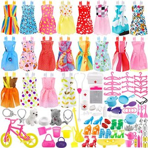 135 Pcs Barbie Doll Clothes Party robe Tenues Chaussures Sacs Collier Jouet accessoires, 20 vêtements Paquet 115 Pcs Poupées Accessoires