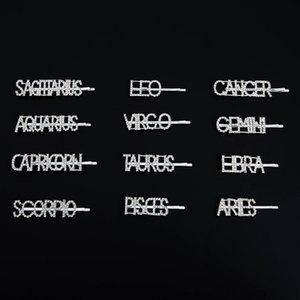 بريد إلكتروني دبوس الشعر مزيج مجموعة البروج الاثني عشر كلمة كليب الانجليزية اليدويه حجر الراين حجر الراين الطابع القاسي DIY
