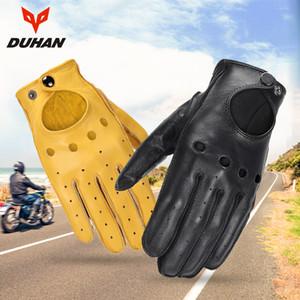 Motorrad-Handschuhe echtes Leder-Männer Retro Guantes halbe Finger-Vollfinger Moto Handschuhe Motorrad-Radfahrer-Reithandschuhe T200820