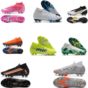 Crampons originale de football Mercurial Superfly CR7 Chaussures de soccer haute cheville 360 ​​Elite SE FG Rosa Panther CR7 SAFARI Ronaldo Neymar Chaussures de football
