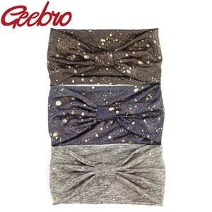 Salpicadura de la pintura de oro de las mujeres Geebro ancha vendas elásticos de malla anudada arco de la manera diadema turbante estirable Hairband DQ497