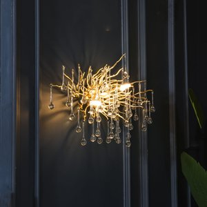 G9 di cristallo di lusso LED Wall Light Nordic Gold TV Sfondo Lampada da parete per Camera da letto Comodino Ristorante a muro-Sconces AC90V - 260V