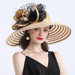 우아한 여성 깃털 꽃 무늬 켄터키 더비 모자 16cm 넓은 모자 챙을 교회 드레스 태양 모자 레이디 여름 해변 파티 웨딩 모자