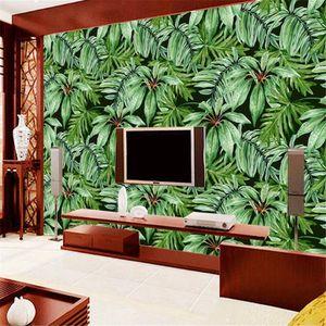 Milofi tropical rainforest plant green banana leaf large mural wallpaper bedroom living room background wall